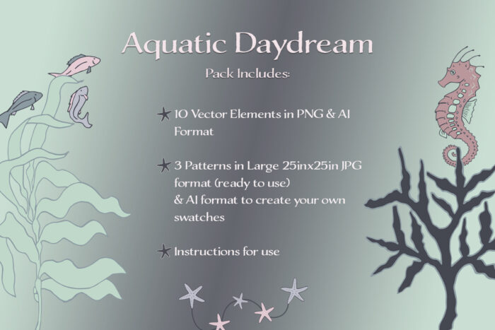 Aquatic Daydream Vectors and Patterns Pack Display Image