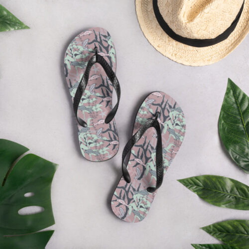 Aquatic Daydream Fish Pattern Flip Flops by Damaris Gray