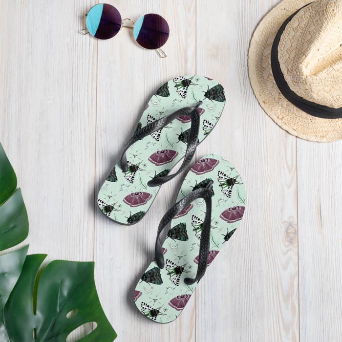 Flutter and Fuzz Moth Flip Flops by Damaris Gray