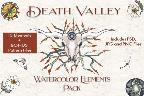 Death Valley Watercolor elements and pattern pack display image