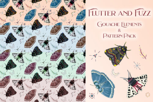 Flutter and Fuzz moths gouache painted elements and pattern pack display image
