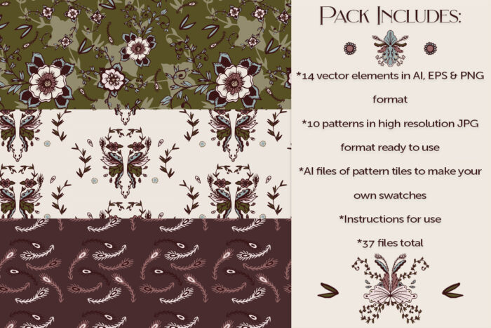 Rustic Blush Floral vector and pattern downloadable product image