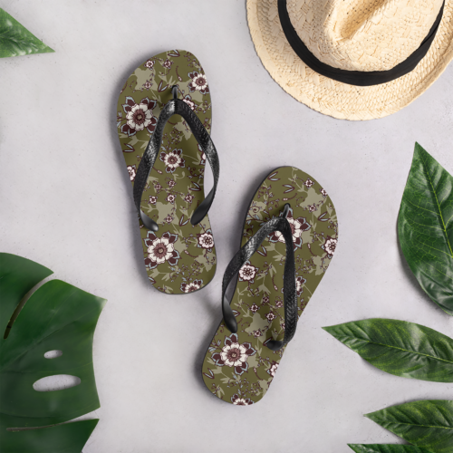 Rustic Blush Floral Flip Flops by Damaris Gray