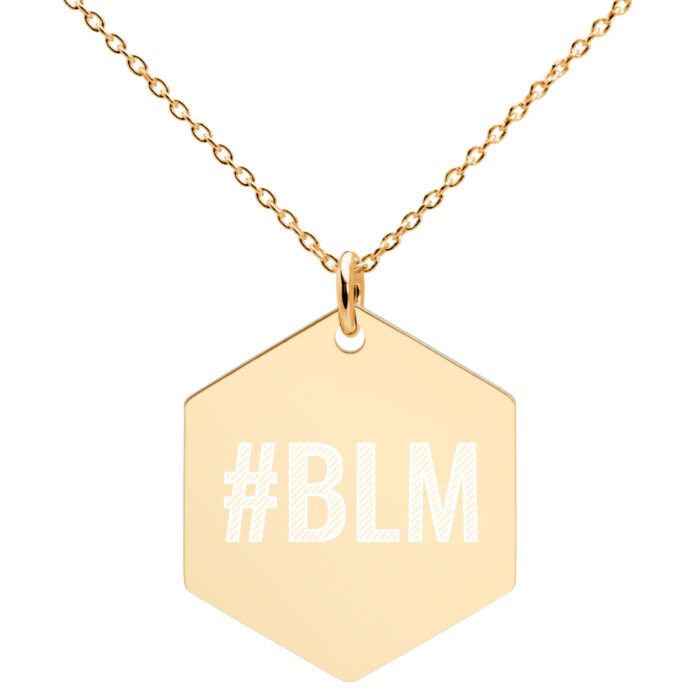 Black Lives Matter Hexagonal Necklace in Gold Plating by Damaris Gray