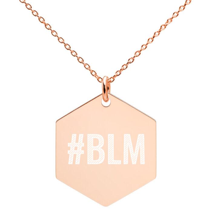 Black Lives Matter Hexagonal Necklace in Rose Gold Plating by Damaris Gray