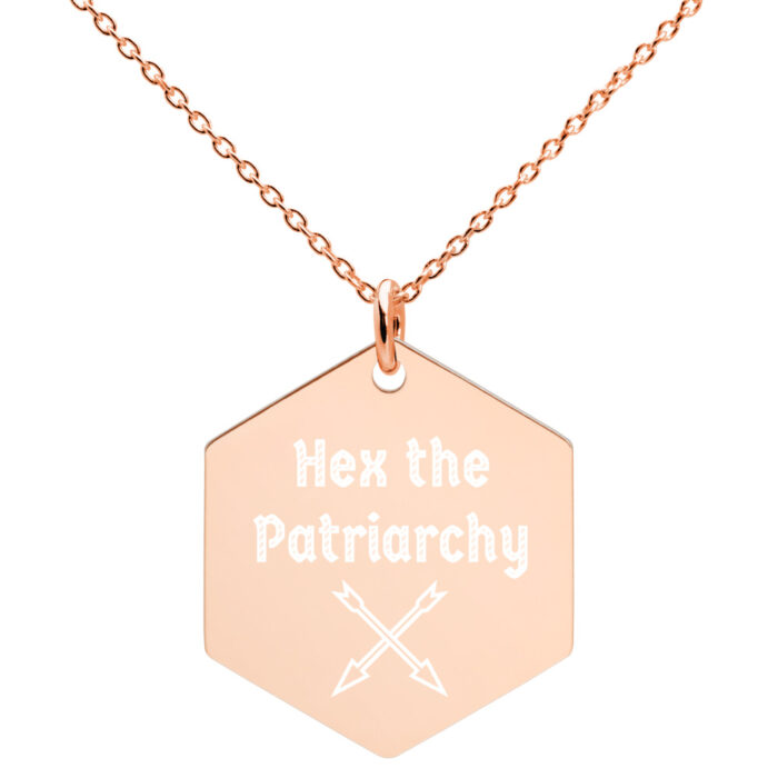 Hex the Patriarchy Hexagon Pendant by Damaris Gray