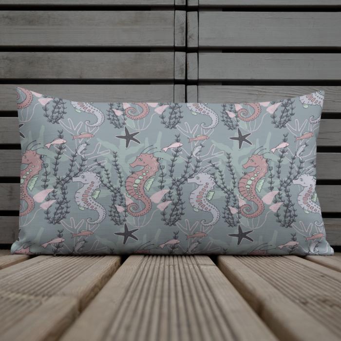 Aquatic Daydream Seahorse Pillow