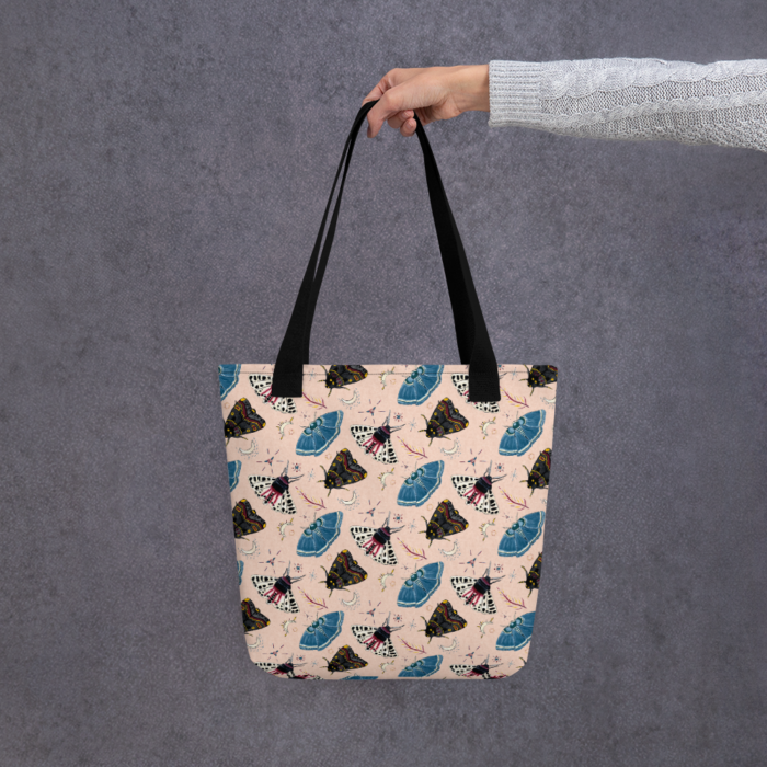 Flutter and Fuzz Moth Tote Bag by Damaris Gray