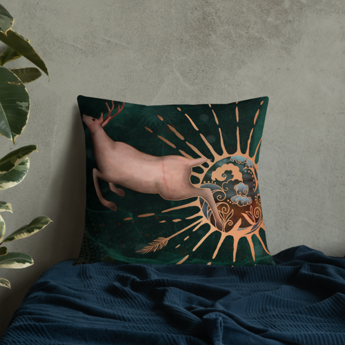 Leave the World Behind Fantasy Elk Art Pillow by Damaris Gray