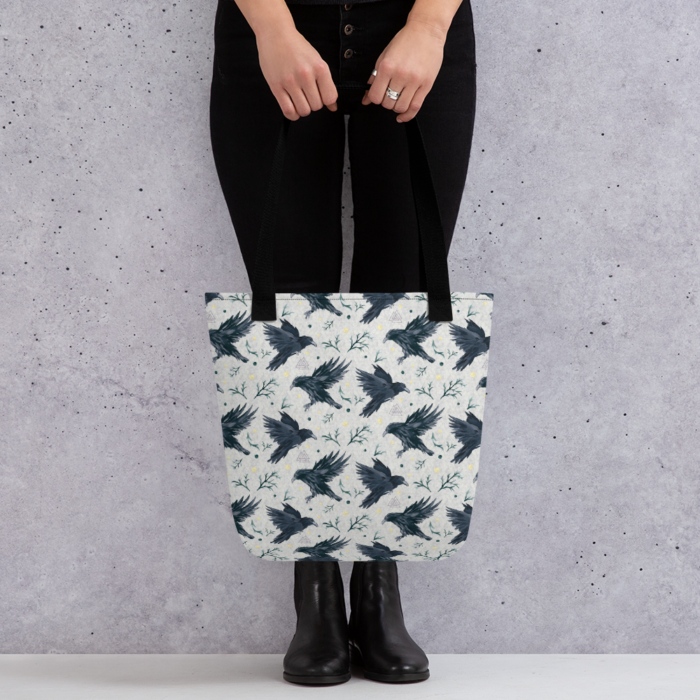 Odins Ravens Pattern Tote Bag by Damaris Gray
