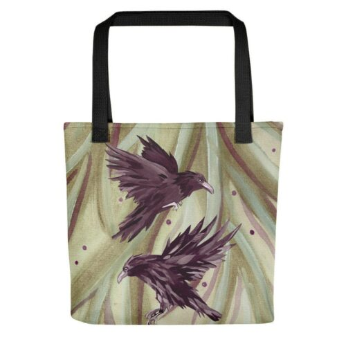 Odins Ravens Print Tote Bag by Damaris Gray