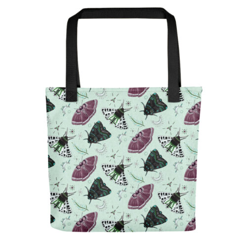 Flutter and Fuzz Moth Tote Bag in Green by Damaris Gray