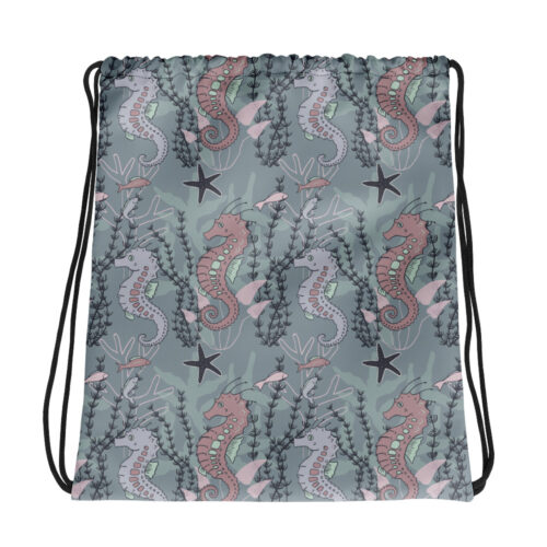 Aquatic Daydream Seahorse Pattern Drawstring Bag by Damaris Gray