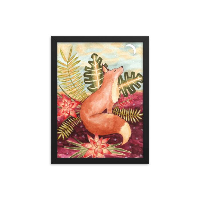 Tropical Fox Watercolor Print by Damaris Gray