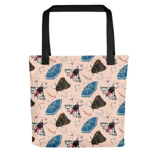 Flutter and Fuzz Moth Tote Bag in Original by Damaris Gray