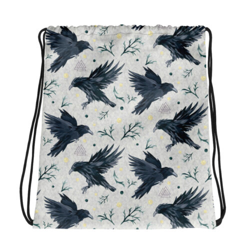 Odin's Ravens Drawstring Bag by Damaris Gray