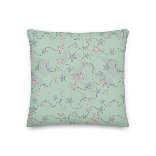 Aquatic Daydream Starfish Pillow by Damaris Gray