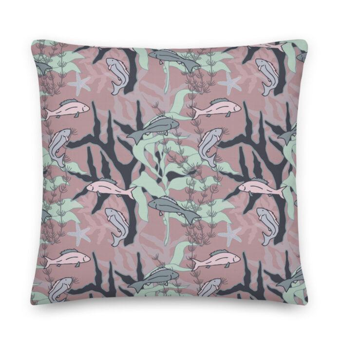 Aquatic Daydream Fish Pattern Pillow by Damaris Gray