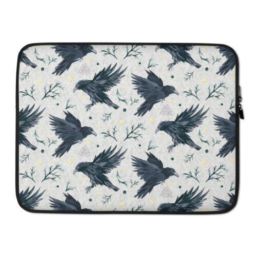 Odin's Ravens Laptop Sleeve by Damaris Gray