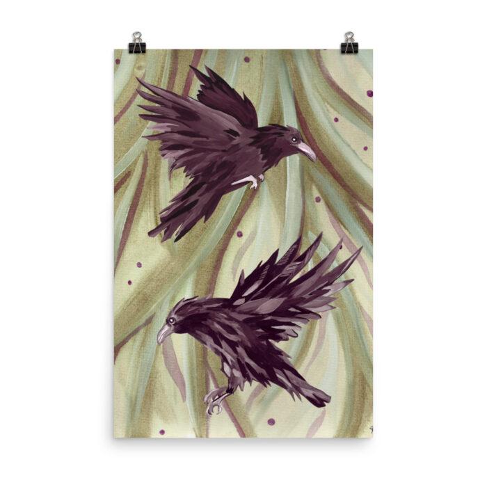 Odin's Ravens Print by Damaris Gray