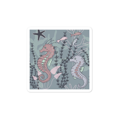 Aquatic Daydream Seahorse Sticker by Damaris Gray