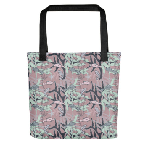 Aquatic Daydream Fish Pattern Tote Bag by Damaris Gray