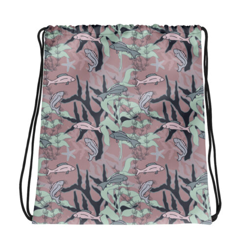 Aquatic Daydream Fish Pattern Drawstring Bag by Damaris Gray