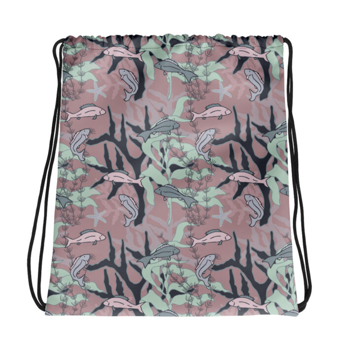 Aquatic Daydream Fish Pattern Drawstring Bag by Damaris Gray