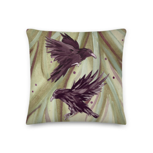 Odin's Ravens Print Pillow by Damaris Gray