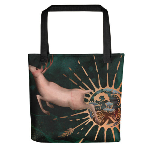 Leave the World Behind Fantasy Elk Art Tote Bag by Damaris Gray