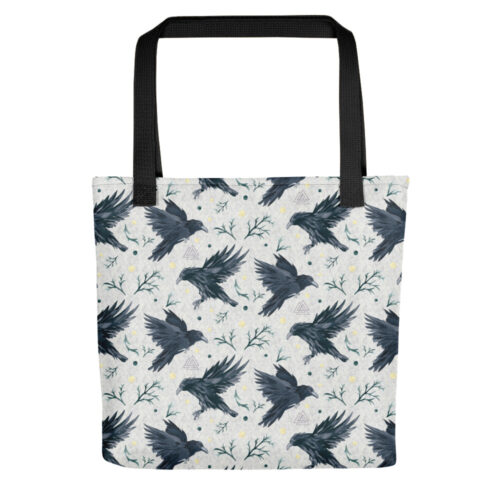 Odins Ravens Pattern Tote Bag by Damaris Gray